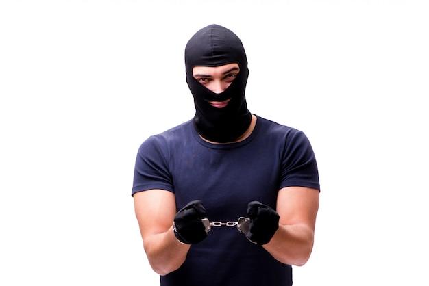 Ladrão usando balaclava isolado no branco