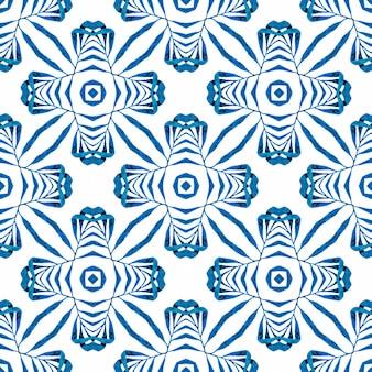 Ladrilho orgânico. design de verão chique de boho interessante azul. borda verde orgânica na moda. estampado animado pronto para têxteis, tecido de biquíni, papel de parede, embrulho.