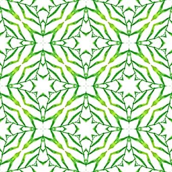 Ladrilho orgânico. projeto chique do verão do boho elegante verde. impressão elegante pronta para têxteis, tecido para biquínis, papel de parede, embrulho. borda verde orgânica na moda.