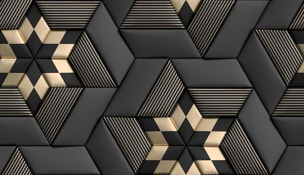 Ladrilhos 3d forma de geometria suave feita de couro preto com listras decorativas douradas e losango