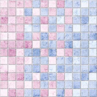 Ladrilhos cerâmicos decorativos nas cores rosa e azul com textura de mármore natural.