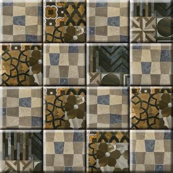 Ladrilhos de pedra para decoração de paredes com um padrão abstrato. elemento para design de interiores