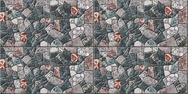 Ladrilhos decorativos com textura de pedra natural. , fachadas e pisos. textura de fundo de pedra com padrão.