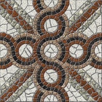 Ladrilhos decorativos de pedra com um padrão. mosaico de granito natural. textura de fundo de pedra