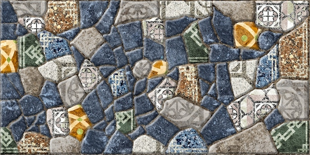 Ladrilhos decorativos de pedra em relevo com mosaicos.