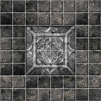 Ladrilhos decorativos de pedra escura com ornamentos. elemento de design de interiores. textura de fundo