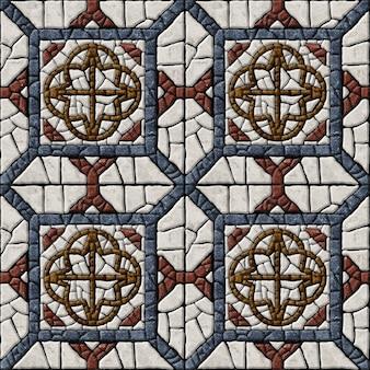 Ladrilhos gravados em pedra natural. mosaico de mármore. textura de fundo