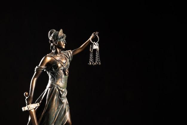 Lady justice ou themis ou justilia (deusa da justiça) em fundo preto