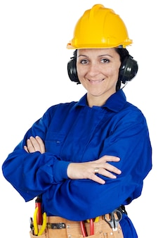 Lady trabalhador da construção civil sobre um fundo branco com o bloco de notas