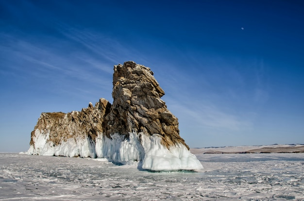 Lago baikal, a ilha ogoy, capa, dragão, inverno
