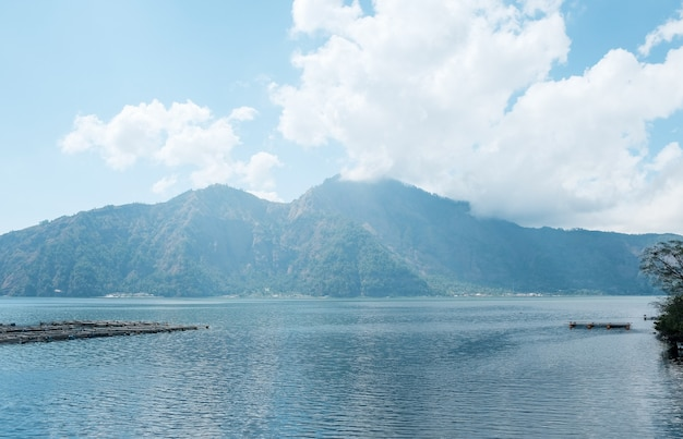 Lago batur, bali, indonésia