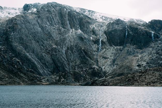 Lago cercado por montanhas cobertas de neve