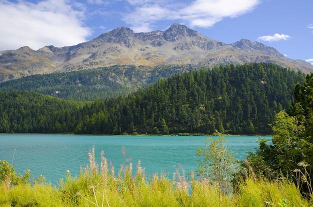 Lago champfer alpine cercado por montanhas cobertas de vegetação sob o sol na suíça
