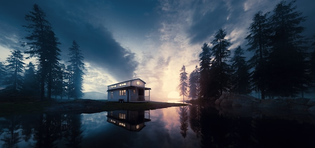 Lago com casa minúscula vintage em um ambiente de floresta do sol. renderização 3d.