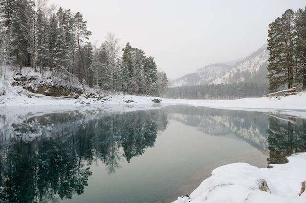 Lago com gelo refletindo montanhas cobertas de neve