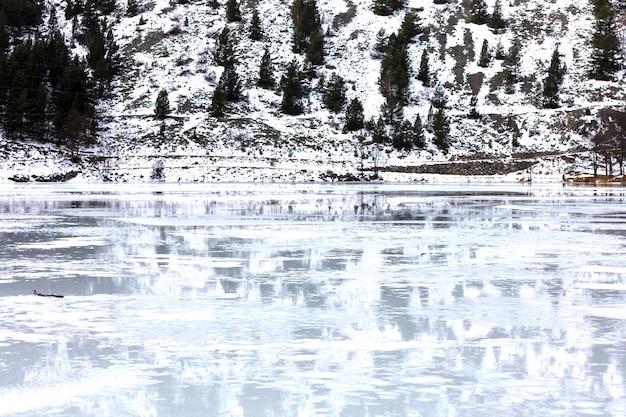 Lago congelado com reflexões