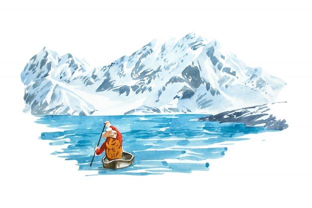Lago de inverno com montanha. paisagem natural.