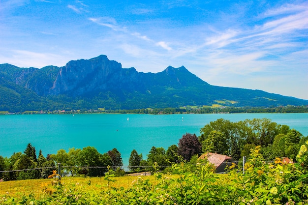 Lago de montanha e céu azul com nuvens