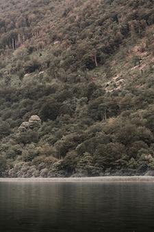 Lago idílico sob o pé da montanha
