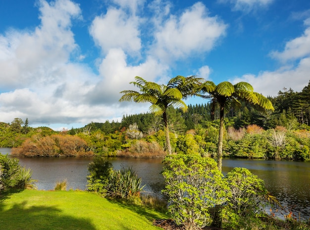 Lago mangamahoe, região de taranaki, ilha do norte, nova zelândia