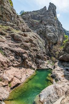 Lago mountain com água verde-clara, grande pedra em primeiro plano na praia. árvores e plantas verdes em segundo plano