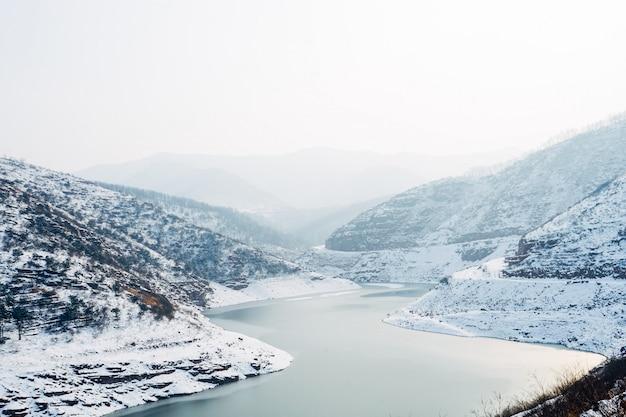 Lago no meio de montanhas cobertas de neve