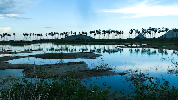 Lago no pôr-do-sol fresco