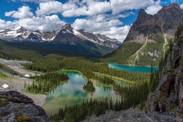 Lago opabin bela pista de caminhada em dia nublado na primavera, yoho, canadá