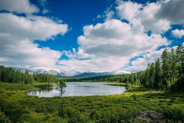 Lago pequeno na grama e nuvens macias sobre prados verdes e picos nevados. lago das montanhas, altai, sibéria.