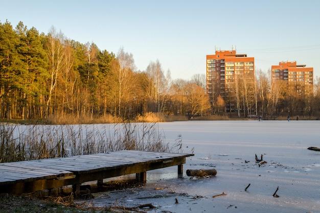 Lago perto da floresta e com casas altas de tijolos no fundo