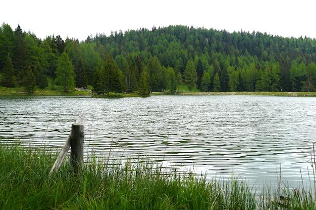 Lago tret cercado por montanhas cobertas por florestas em trentino, itália
