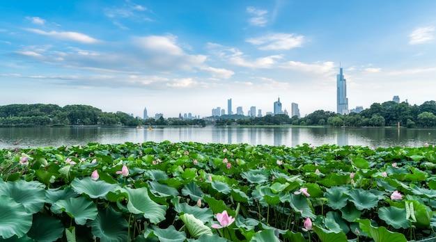 Lago xuanwu em nanjing e o horizonte da arquitetura urbana