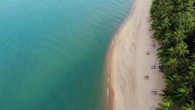Lagoa azul e praia de areia com palmeiras