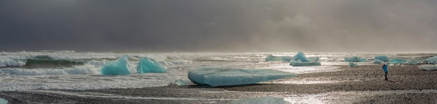 Lagoa glaciar na islândia