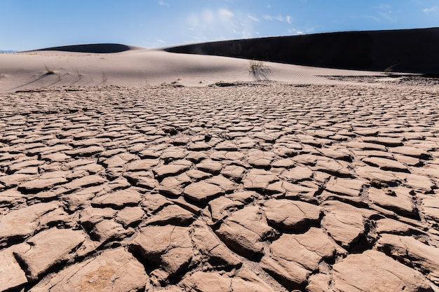 Lagoa seca devido a mudanças climáticas