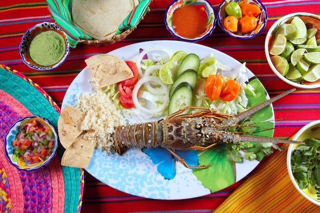 Lagosta, marisco, mexicano, estilo, pimentão molhos, tortilla