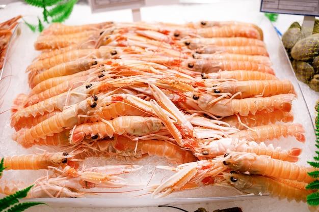 Lagostas frescas no gelo. artrópodes coloridos parecem apetitosos. jantar com deliciosas carnes do mar.