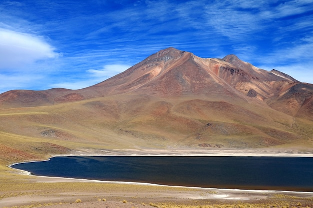 Laguna miniques, uma das incríveis lagoas azuis localizadas no altiplano da região de antofagasta