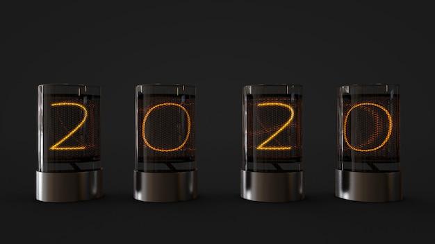 Lâmpada 2020 no cilindro de vidro, rendição 3d