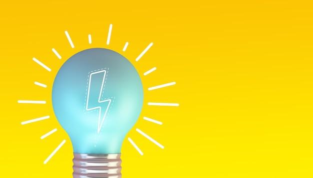 Lâmpada azul em renderização 3d de fundo amarelo com ilustração de um raio