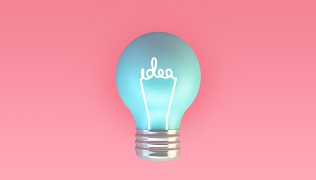 Lâmpada azul em renderização 3d de fundo rosa com ilustração de ideias