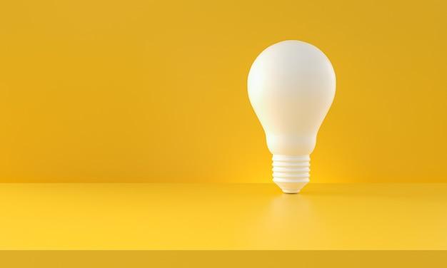Lâmpada branca sobre fundo amarelo. composição horizontal com espaço de cópia. ideias de criatividade e conceito de inovação. renderização 3d