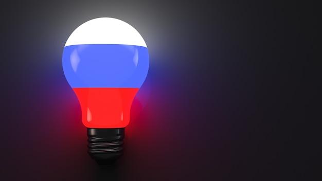 Lâmpada da bandeira russa em fundo escuro
