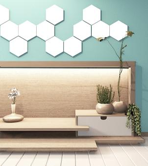 Lâmpada da telha do hexágono na parede clara hiden e armário de madeira mínimo no estilo japonês moderno do quarto do zen da hortelã