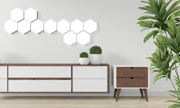 Lâmpada da telha do hexágono na parede e no projeto mínimo do armário de madeira. renderização em 3d