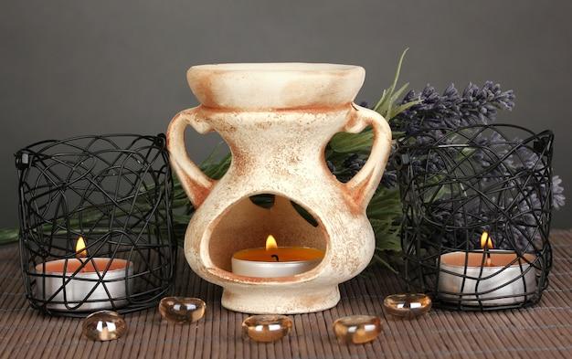 Lâmpada de aromaterapia em cinza