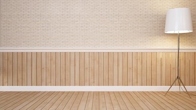 Lâmpada de assoalho na sala vazia para obras de arte - renderização em 3d
