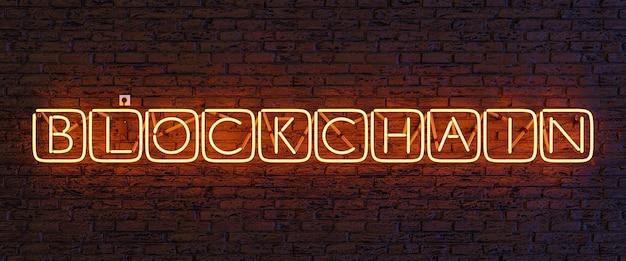 Lâmpada de néon com o sinal blockchain dentro de cubos iluminados