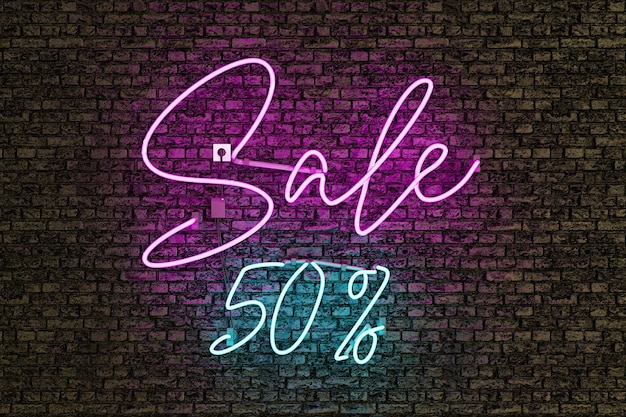 Lâmpada de néon realista com a palavra venda em rosa e o número de desconto em azul