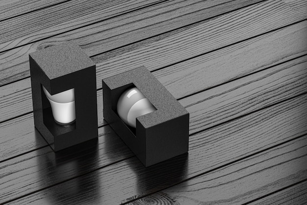 Lâmpada de papelão kraft preto modelo bubl box mockup